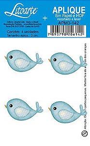 APM3-142 - Aplique Litoarte Em Papel E MDF - Passarinhos Azul