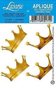 APM3-129 - Aplique Litoarte Em Papel E MDF - Coroa Dourada