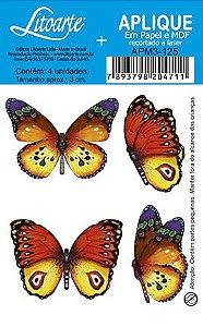 APM3-125 - Aplique Litoarte Em Papel E MDF - Borboletas Coloridas