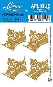 APM3-147 - Aplique Litoarte Em Papel E MDF - Coroa Dourada