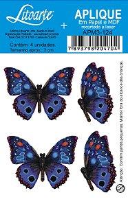 APM3-124 - Aplique Litoarte Em Papel E MDF - Borboletas Azuis