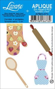 APM3-073 - Aplique LitoarteEm Papel E MDF - Utensilios