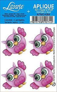 APM3-084 - Aplique  Litoarte Em Papel E MDF - Coruja Rosa