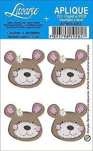 APM3-092 - Aplique  Litoarte Em Papel E MDF - Ursa