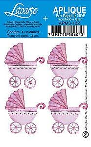 APM3-132 - Aplique  Litoarte Em Papel E MDF - Carrinho Bebe Menina