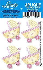 APM3-045 - Aplique  Litoarte Em Papel E MDF - Carrinho De Bebe Feminino