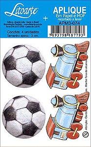 APM3-074 - Aplique  Litoarte Em Papel E MDF - Bola E Trem
