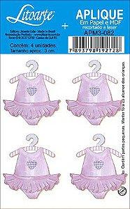 APM3-082 - Aplique Litoarte Em Papel E MDF - Vestido Rosa