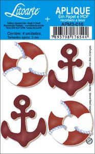 APM3-016 - Aplique Litoarte Em Papel E MDF - Bóia E Âncora Vermelho