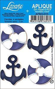 APM3-015 - Aplique Litoarte Em Papel E MDF - Bóia E Âncora Azul