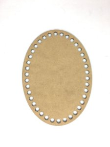 Base de Crochê Oval Cesto Fio Malha 20 cm MDF 3 mm