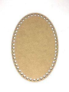 Base de Crochê Oval Cesto Fio Malha 25 cm MDF 3 mm