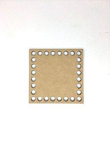 Base de Crochê Quadrada Cesto Fio Malha 10 cm MDF 3 mm