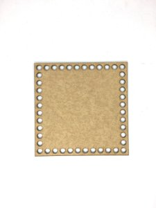 Base de Crochê Quadrada Cesto Fio Malha 15 cm MDF 3 mm