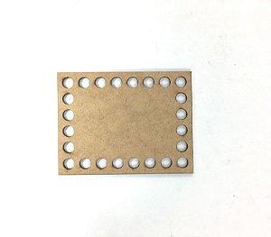 Base de Crochê Retangular Cesto Fio Malha 10 cm MDF 3 mm