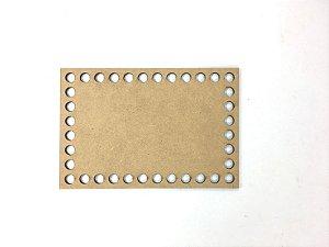 Base de Crochê Retangular Cesto Fio Malha 15 cm MDF 3 mm