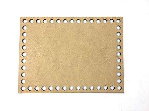 Base de Crochê Retangular Cesto Fio Malha 20 cm MDF 3 mm