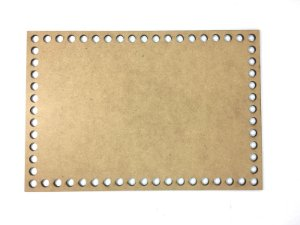 Base de Crochê Retangular Cesto Fio Malha 25 cm MDF 3 mm