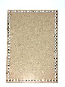 Base de Crochê Retangular Cesto Fio Malha 30 cm MDF 3 mm