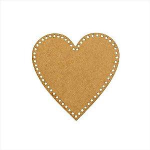 Base de Crochê Coração Cesto Fio Malha 30 cm MDF 3 mm