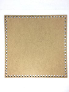Base de Crochê Quadrada Cesto Fio Malha 30 cm MDF 3 mm
