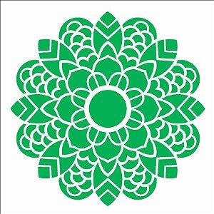 Stencil 14×14 Simples – Mandala Folhas – OPA 2697