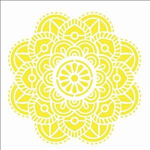 Stencil 14×14 Simples – Mandala Flor Vitral – OPA 2695