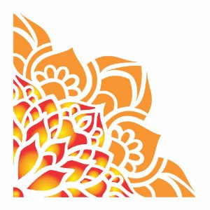 Stencil 10×10 Simples – Cantoneira Flor de Lótus – OPA 2413