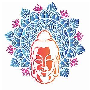 Stencil 30,5×30,5 Simples – Mandala Buda – OPA 2730