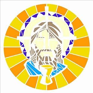Stencil 30,5×30,5 Simples – Vitral Jesus – OPA 2743