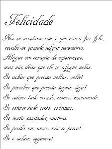 Stencil 15×20 Simples – Poema Felicidade – OPA 1150
