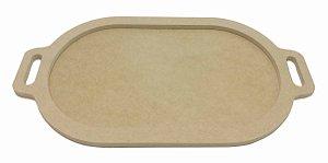Bandeja Moldura Oval Baixa MDF Cru P 32x18 cm