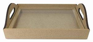Bandeja Cesto Retangular c/Vidro MDF   30 x 20 x 5 cm - P
