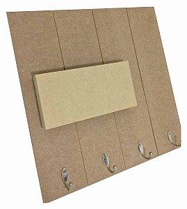 Porta Cartas e Chaveiro MDF Ripado 4 Ganchos Metal