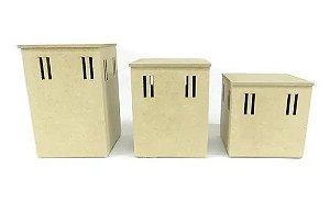Trio de Potes de Passa Fita 3 Tamanhos Kit BB - MDF Crú