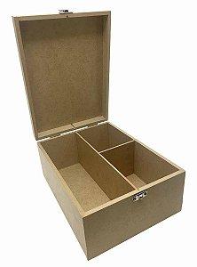 Caixa Mini Vinho 2 Divisórias Com Dobradiça e Fecho Metal