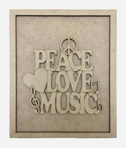 Quadros Decorativos Personalizado *Peace Love Music...* MDF
