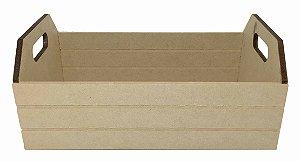 Caixote Riscado em MDF 34x20x14 G Cesto Decoração Qualidade