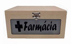 Caixa Farmácia Em MDF Com Vidro Jateado Fecho e Dobradiça