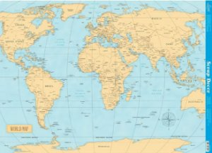 Papel P/ Scrapbook - World Map - 46,3 x 62,3 cm - SDG-049