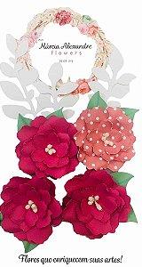 Flores de Papel P/ Scrapbook 05-04 Doce de Pitaya