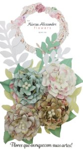 Flores de Papel P/ Scrapbook 02-01 Suspiro Colorido