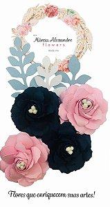 Flores de Papel P/ Scrapbook 17-09 Mirtilio com Rosas