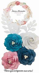 Flores de Papel P/ Scrapbook 17-05 Água Floral
