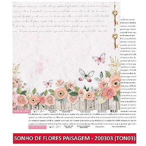 Papel Scrapbook - Scrap By Antonio - SONHO DE FLORES -  KIT COMPLETO (8 UNIDADES)
