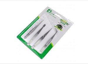 Kit Com 4 Pinças em Aço Inoxidável Anti-magnético Anti-ácido