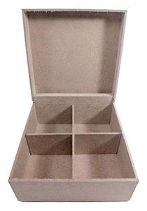 Caixa De Chá Lisa em MDF C/ 4 Divisórias e Dobradiça 16x16x8