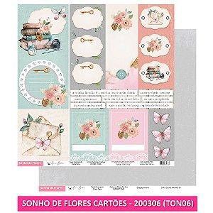 Papel Scrapbook - Scrap By Antonio - SONHO DE FLORES CARTÕES - TON6
