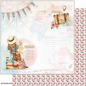 Papel Para Scrapbook Dupla Face 30,5 cm x 30,5 cm – Kit Viagem Menina Viajante Mala Diario - SD-1135