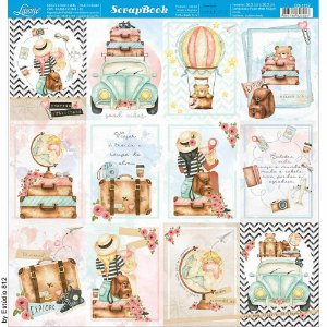 Papel Para Scrapbook Dupla Face 30,5 cm x 30,5 cm – Kit Viagem Cards-Postais Fotos SD-1137